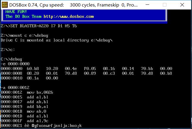 就像这样,从0000:0000开始写,结果最后debug就卡住了,还自己出现一堆奇怪的字符